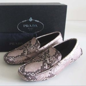PRADA stamped python driving loafers 7.5 / 8.5 US